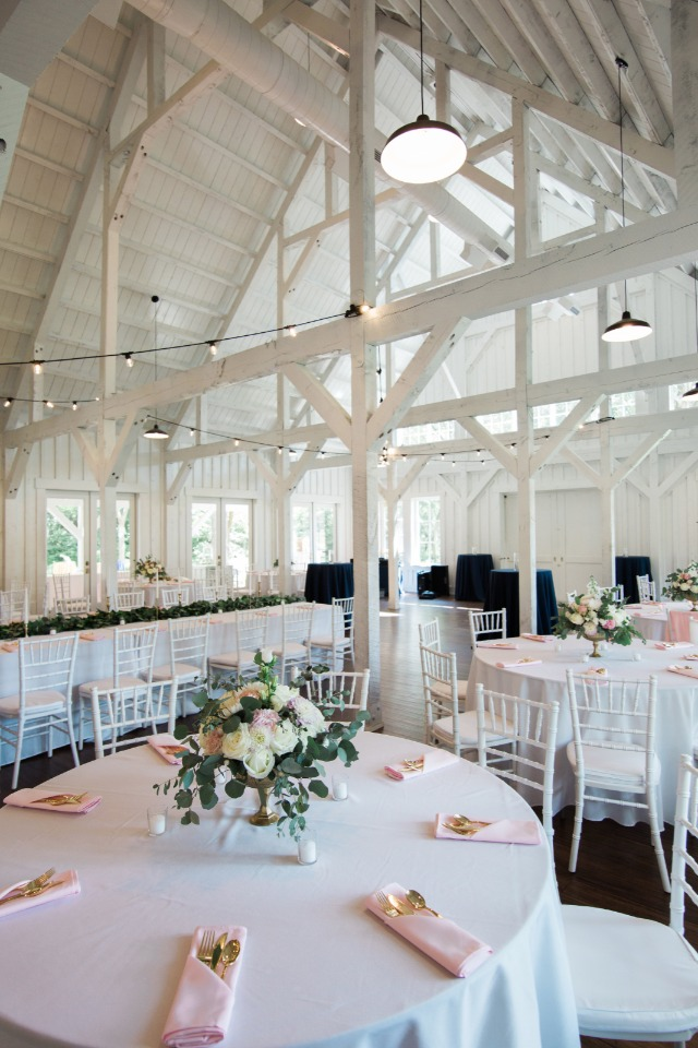 all white wedding barn venue