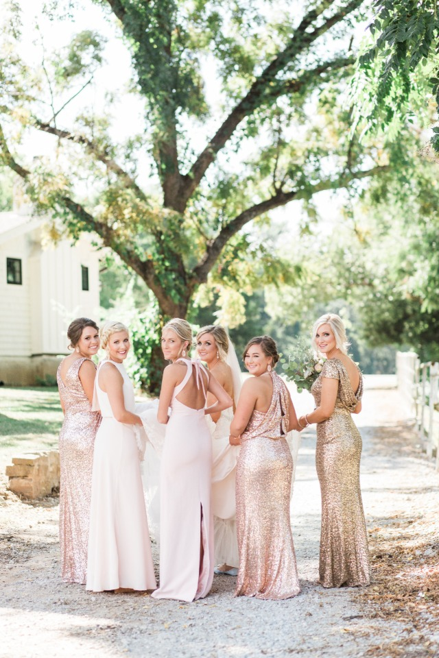 soft pink and gold glitter bridesmaids