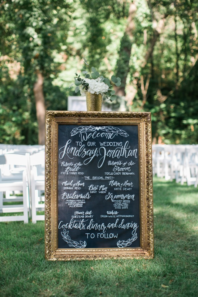 framed chalkboard wedding program
