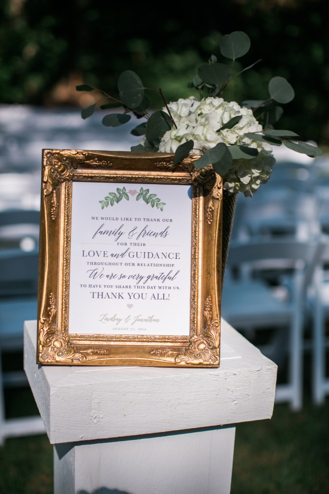 a framed wedding thank you for your wedding guests