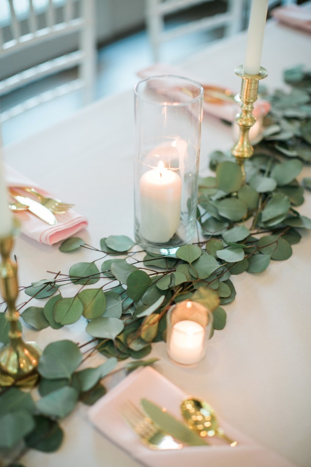 eucalyptus garland wedding centerpiece