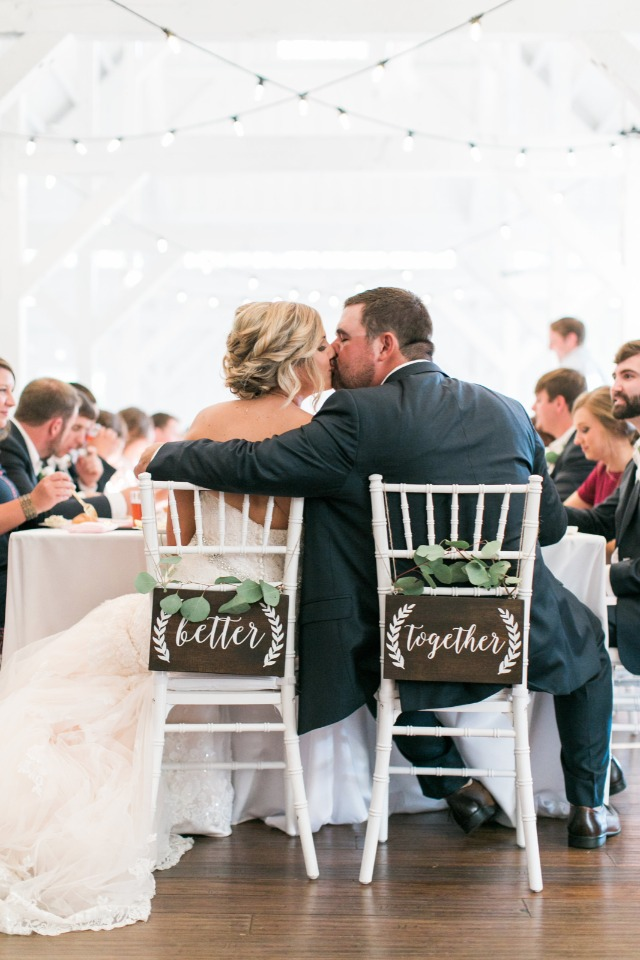 better together bride and groom seat signs