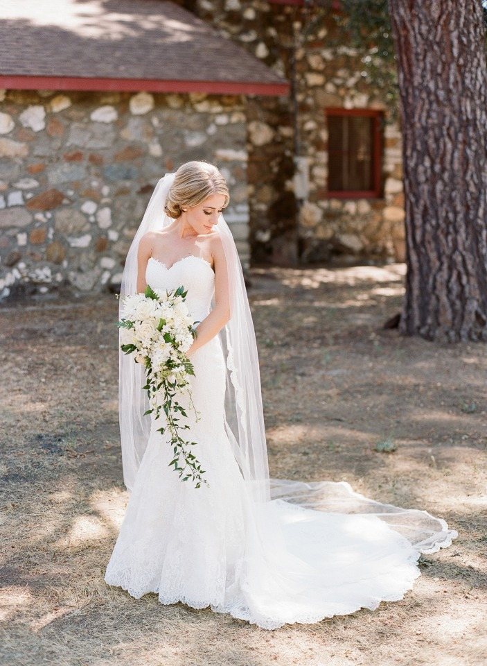 classic bride with cascading white bouquet