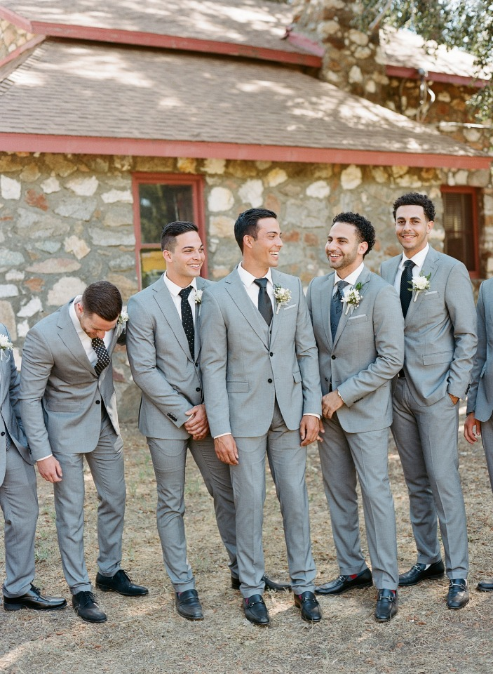 matching groom and his men in grey