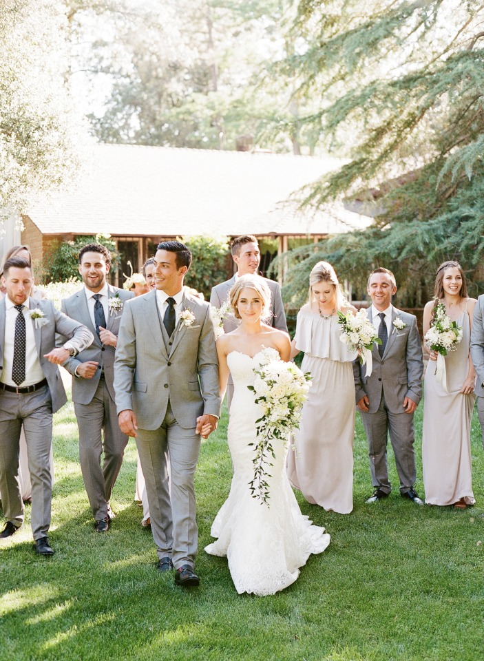 white and grey wedding party