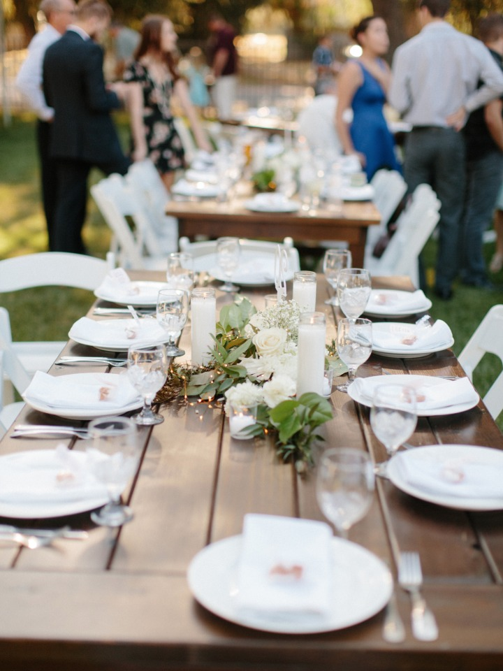 white and organic farm table style wedding seating