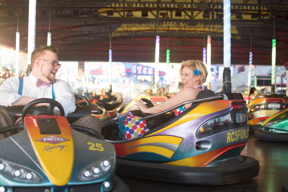 bumper cars engagement photography