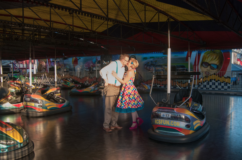 bumper cars county fair engagement