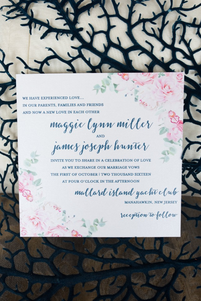 wedding stationery with pretty pink flower accents