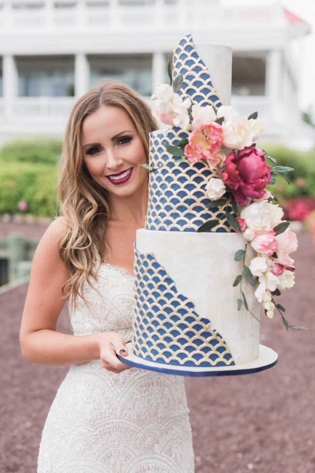 nautical themed blue and gold wedding cake