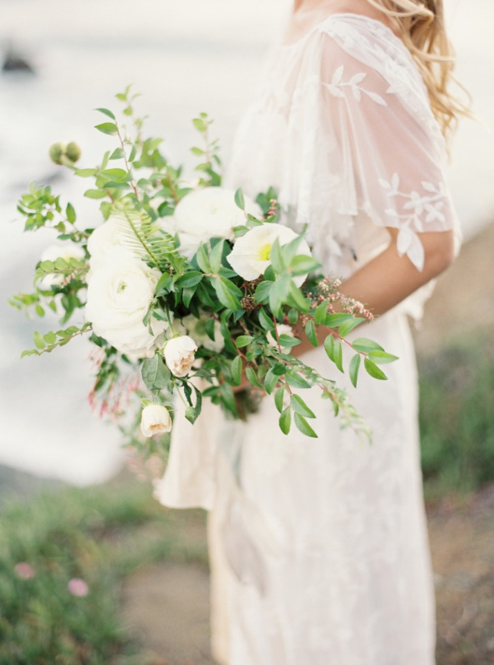 free flowing white and green wedding bouquet