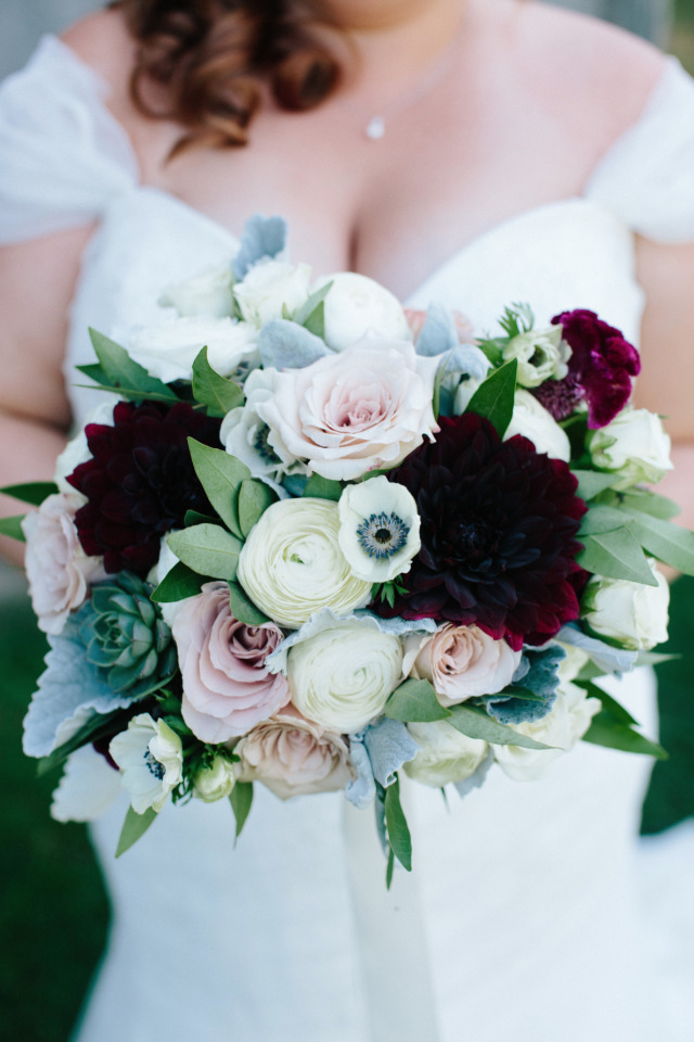white pink and deep red wedding bouquet