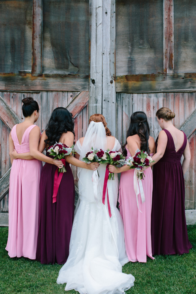 pink and red bridesmaid dresses