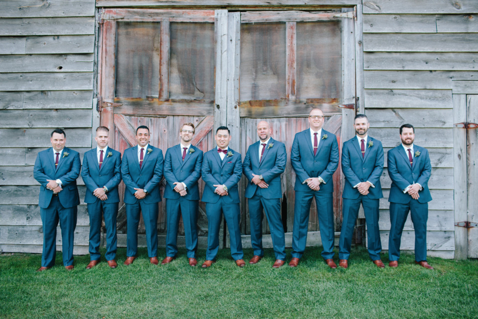 blue and burgundy groomsmen attire