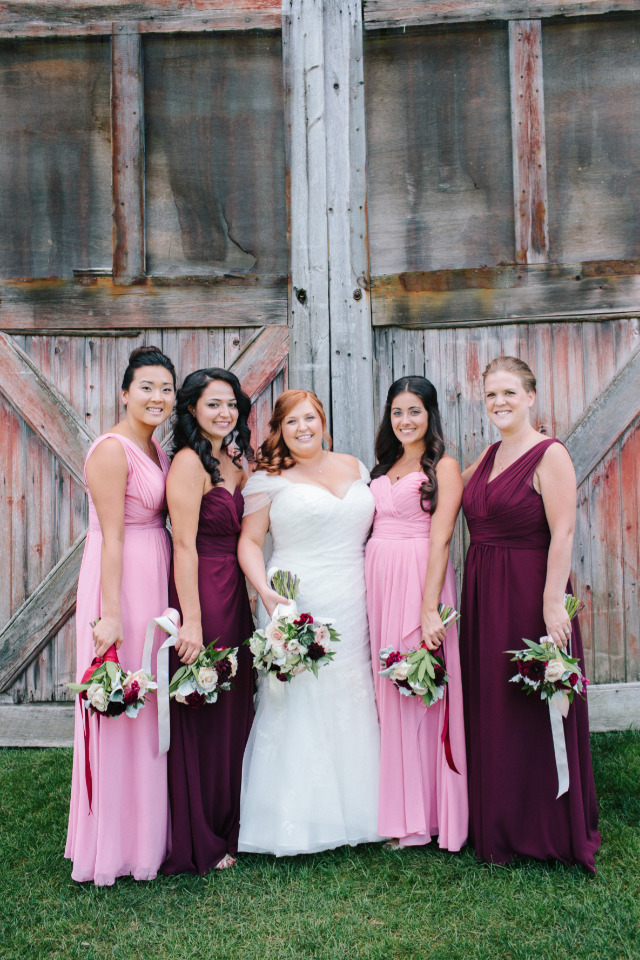 pink and red-purple bridesmaids dresses