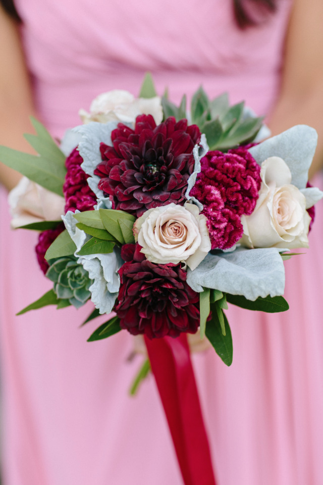 dahlia and rose bridesmaid bouquet