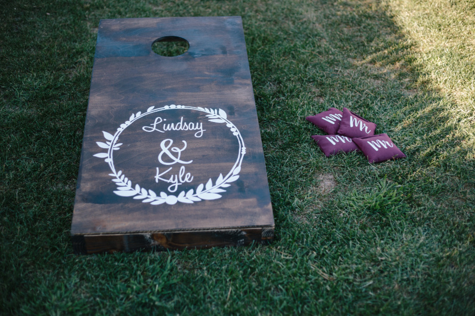 wedding monogram lawn games cornhole toss