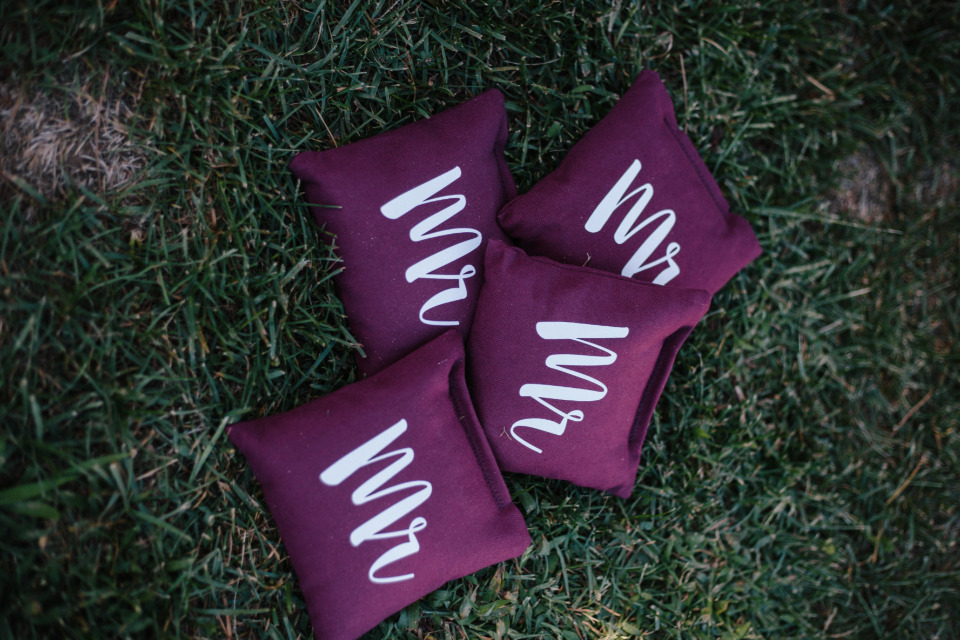 dark purple wedding corn hole bags