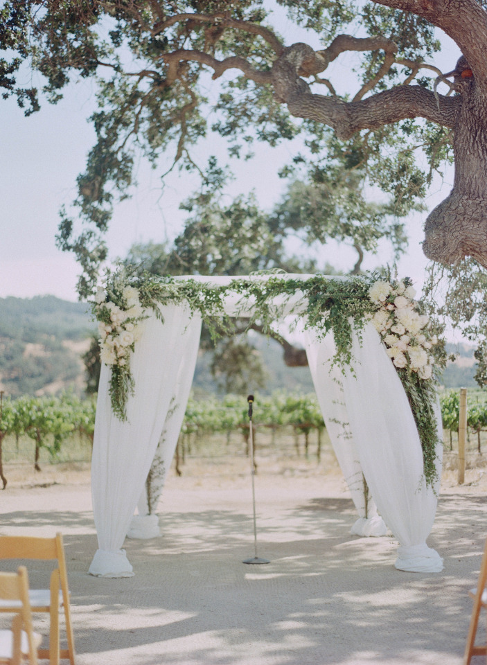 white draped wedding chuppah with flowers
