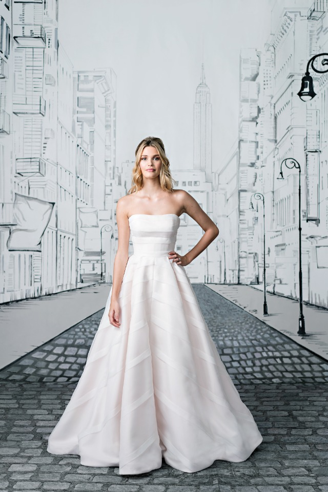 Geometric Organza Trimmed Strapless Ball Gown
