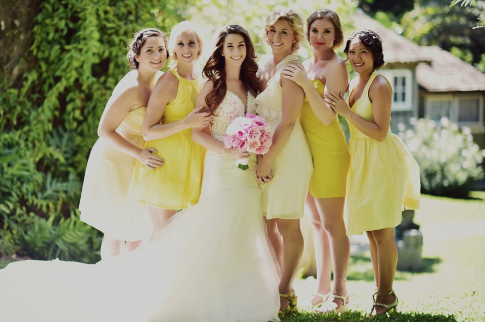 sweet mismatched bridesmaids in yellow