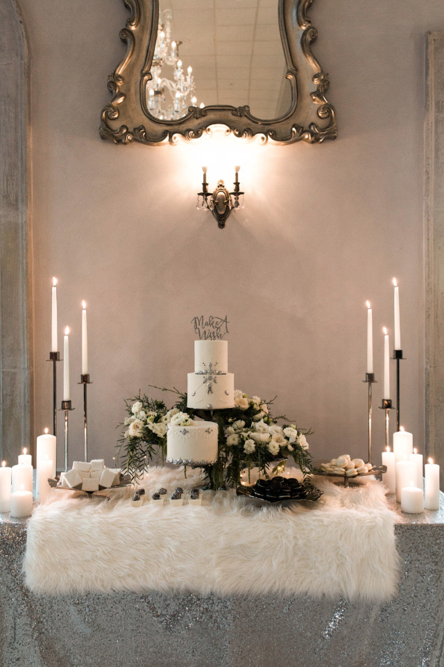 Glamorous Wintry Dessert Table