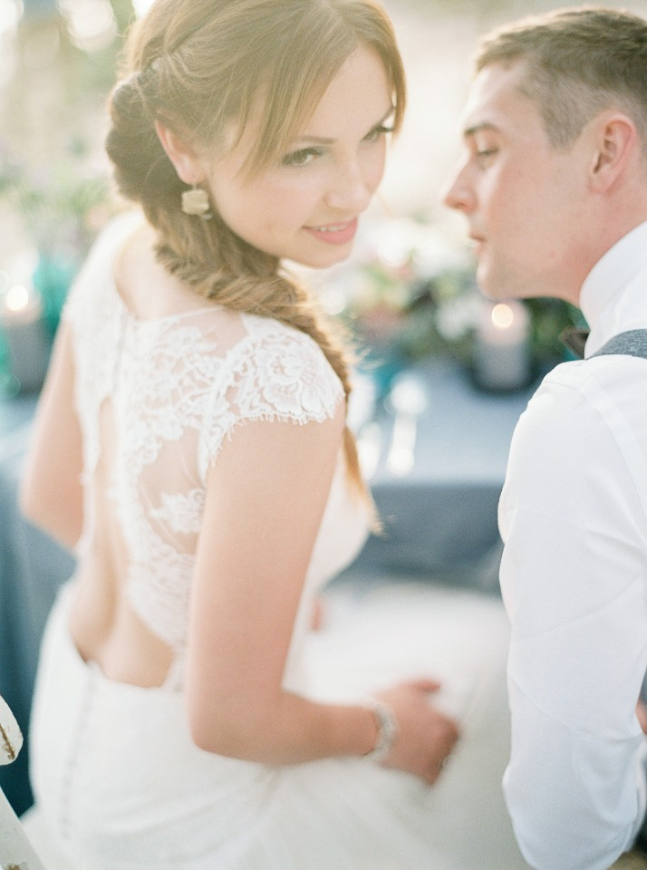 Love her cap sleeve lace gown