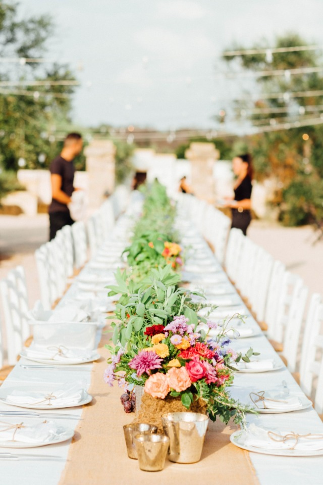 long family style seating for outdoor wedding reception