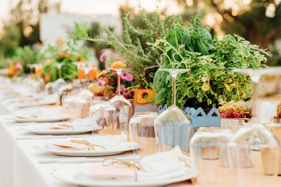 organic and boho styled wedding table