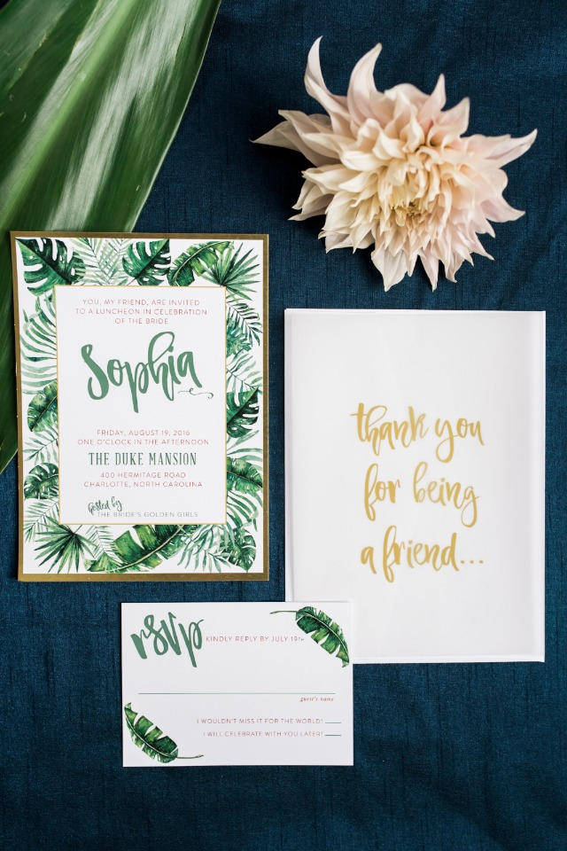 Tropical inspired bridal luncheon invite