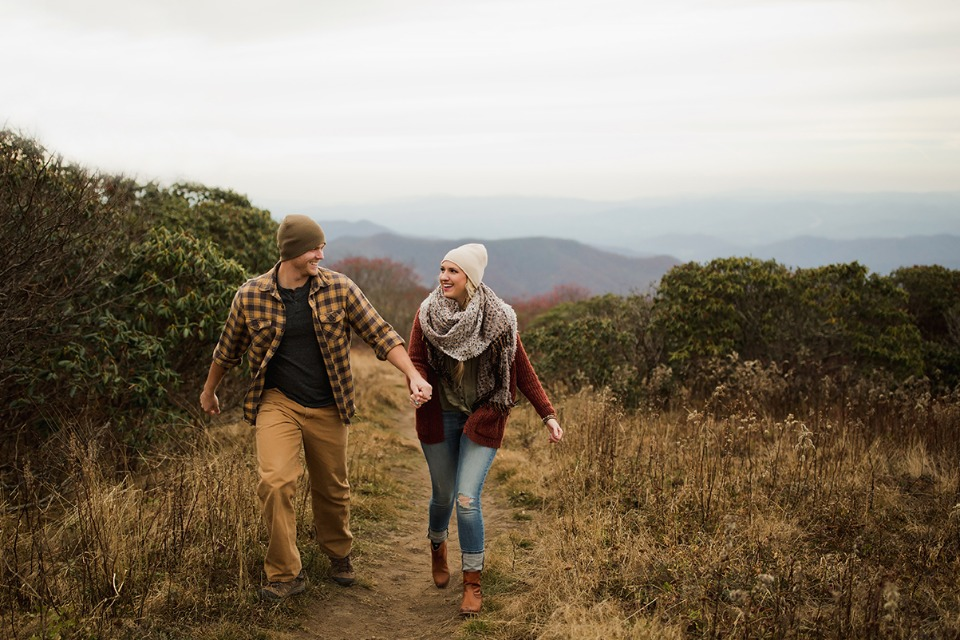 late fall hike engagement shoot