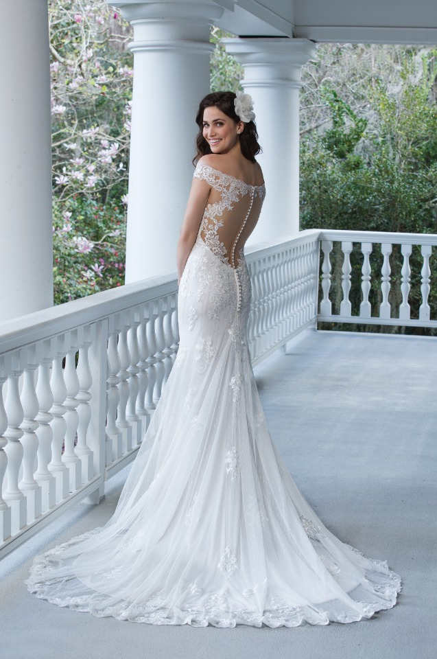 back showcasing off the shoulder Sincerity gown