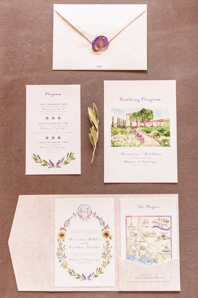 French garden invitation suite