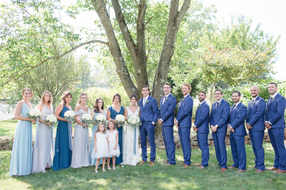 blue and white wedding party attire