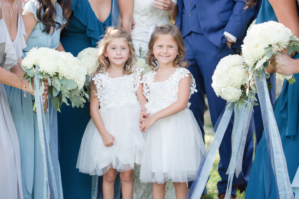 white tulle and floral flower girl dress