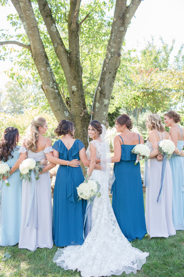 mix and match blue bridesmaid dresses