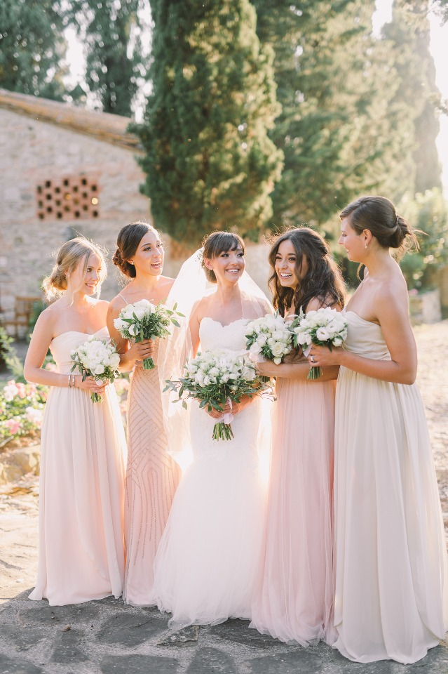 Bridesmaids in blush dresses
