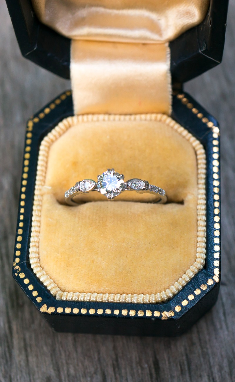 A dainty vintage Diamond engagement ring in 14k White Gold by S. Kind & Co.