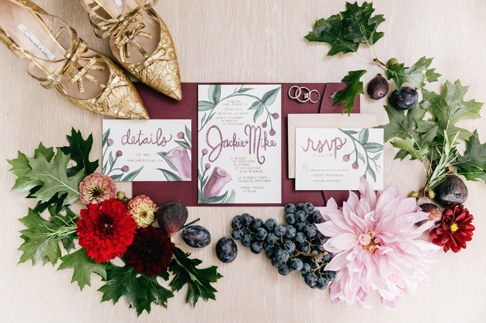 teal and burgundy wedding stationery