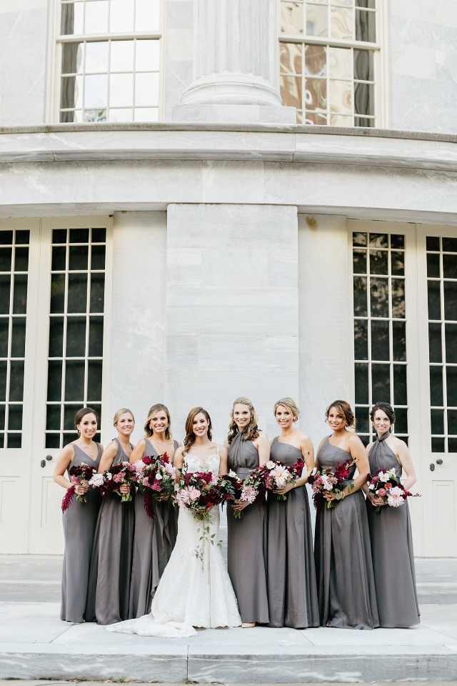 floor length bridesmaid dresses in grey
