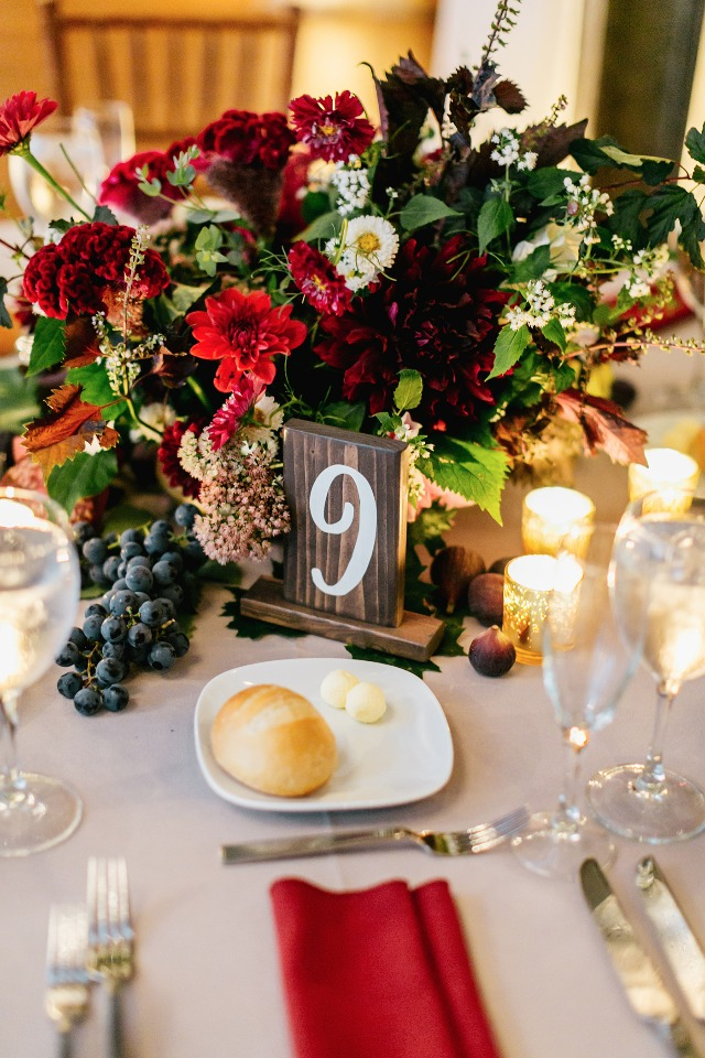 fall jewel tone wedding table decor