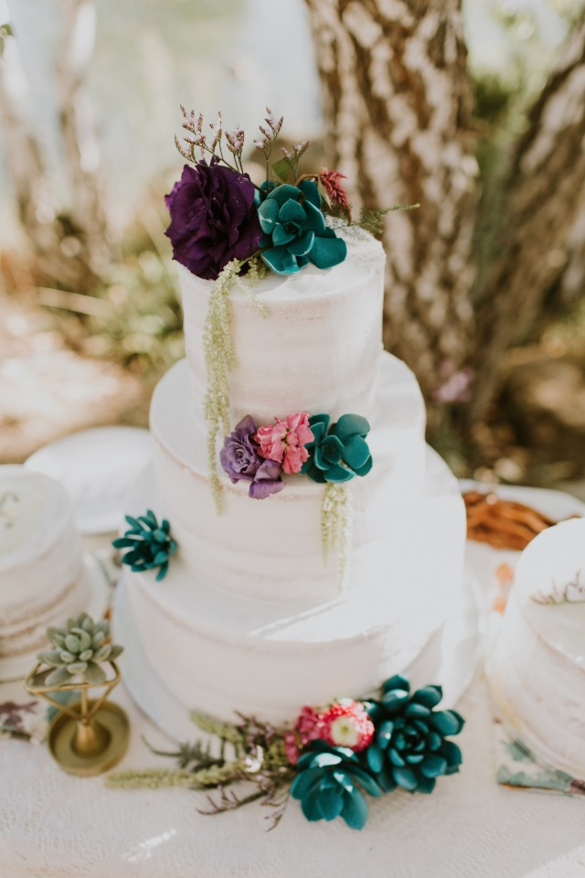 Jewel toned wedding cake