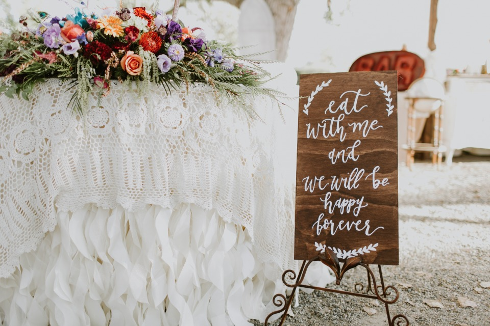 Cute wedding sign for the foodie couple