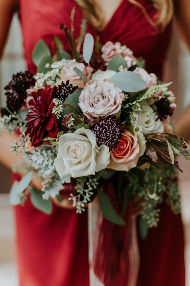Muted blush and red bridesmaid bouquet