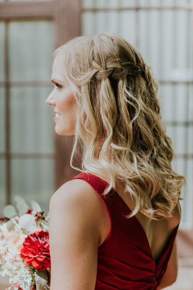 Waterfall braid for bridesmaid hair
