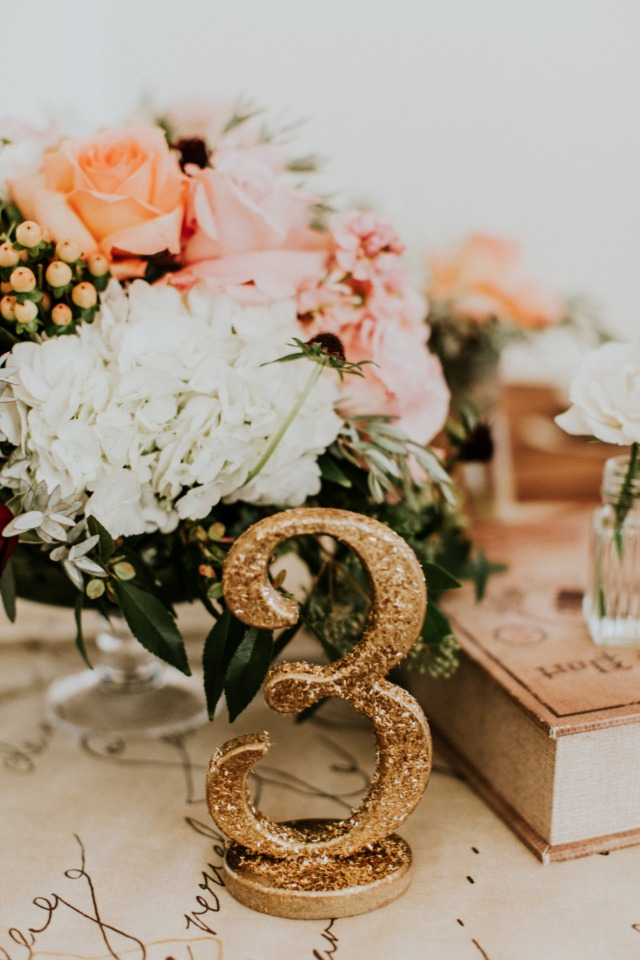 Sparkly gold table number
