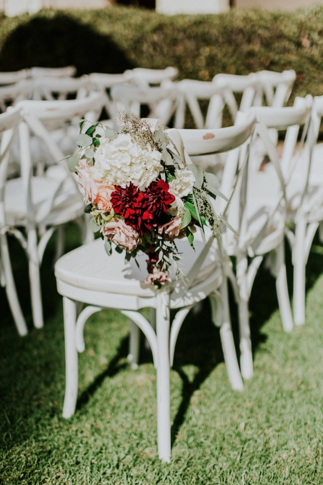 Floral aisle decor for chairs