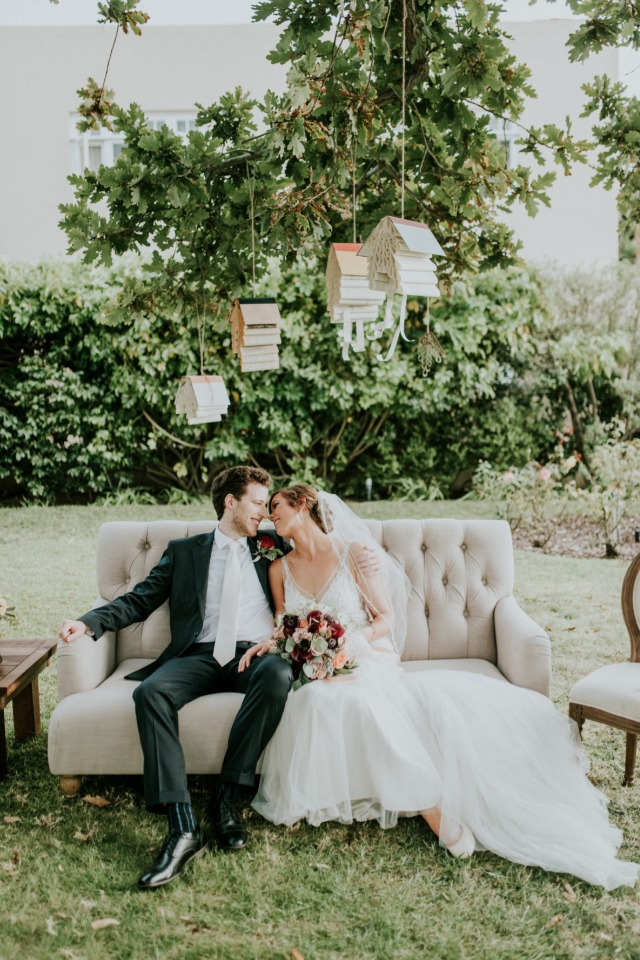 Cute red and white book themed wedding