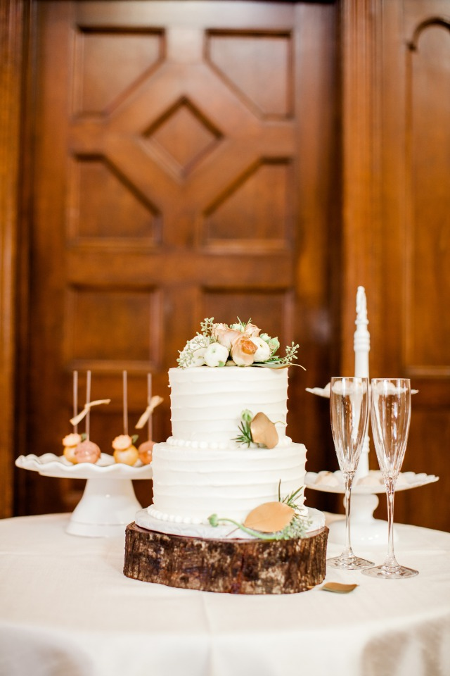 classic wedding cake with gold accents