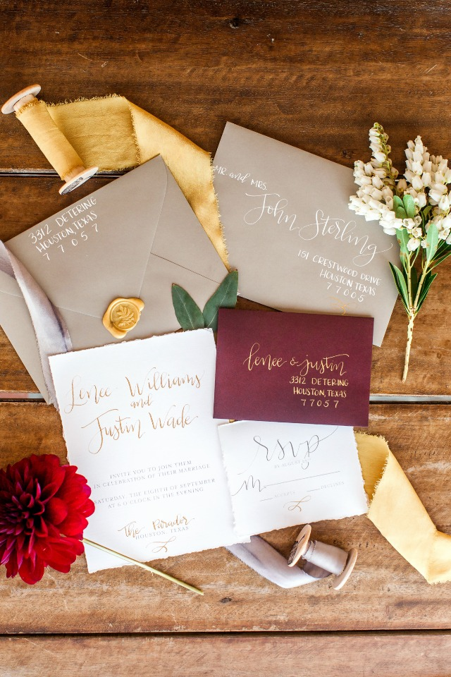 calligraphy and wax seal wedding stationery